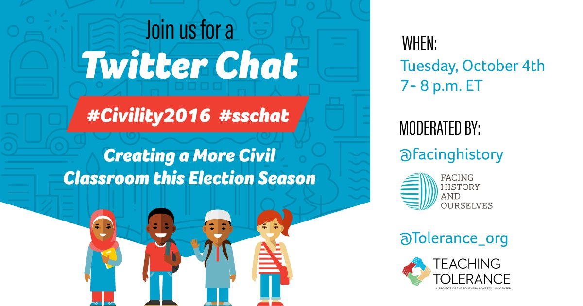"Welcome to our special #Civility2016 #sschat, ""Creating a More Civil Classroom this Election Season."" https://t.co/cigdsmHiyj"