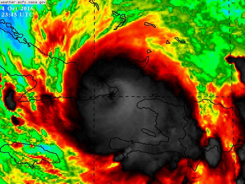 #Matthew has made its second landfall of the day on the eastern tip of Cuba with 140 mph https://t.co/pv5XDJHM35