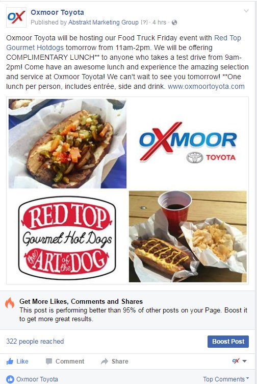 Oxmoor Toyota Service >> Red Top Gourmet Dogs On Twitter Free Food