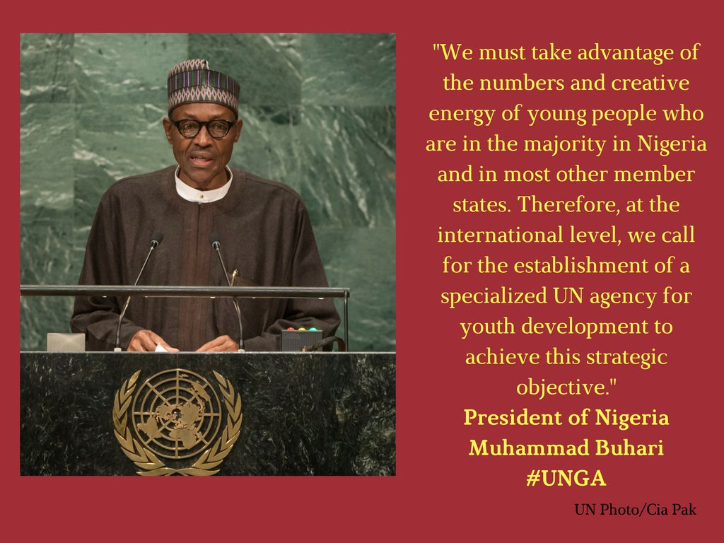 Nigerian President @MBuhari  : Africa's youth will fuel the continent's growth. #UNGA #Africa https://t.co/shPkj3KY1w