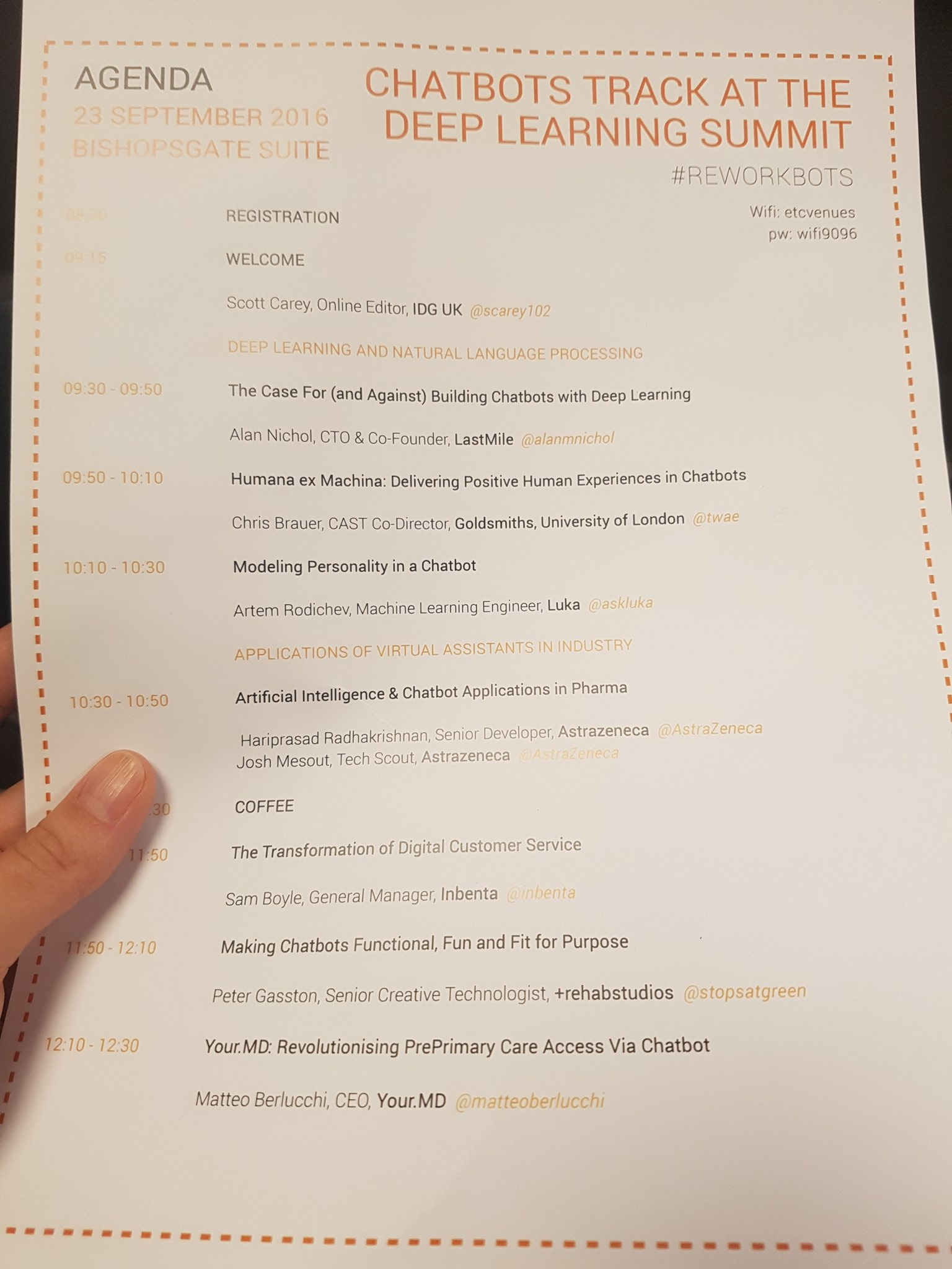 Day 2 at #reworkDL  - Great line up at #Chatbots track today  #deeplearning https://t.co/WVF8erjiLk