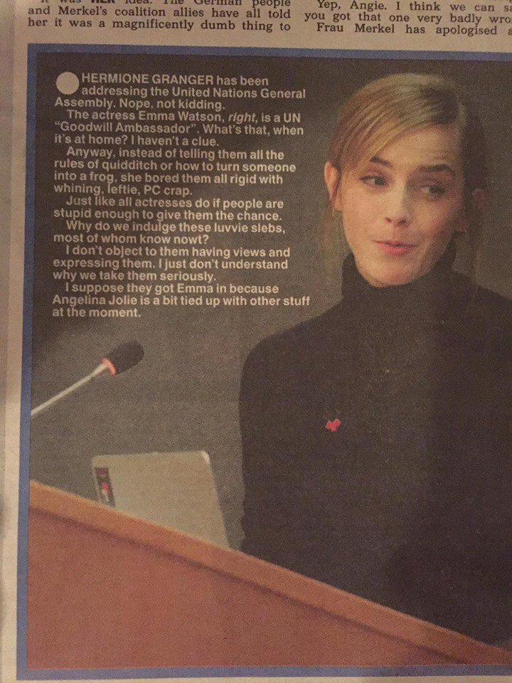 Offered without comment - The Sun's response to Emma Watson addressing the UN about gender equality and sexual assault