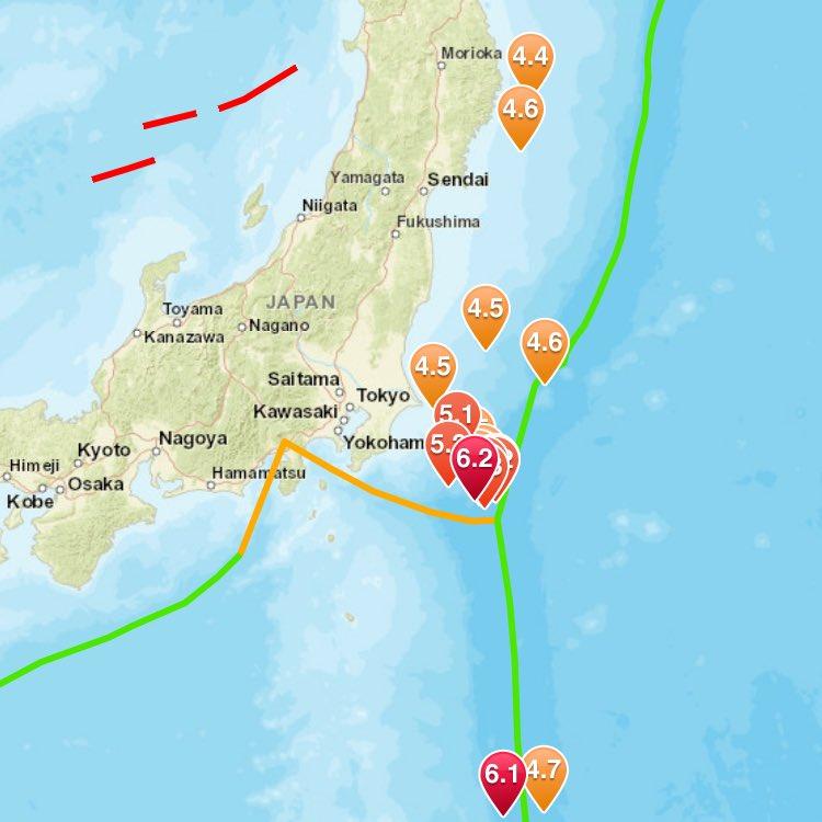 @zishinmimi 群発地震が、、、始まった。しかも、でかい。前震だったら単純計算で1.5足してマグニチュード7.7を超える続震が控えている。 https://t.co/q9J3HuUct9