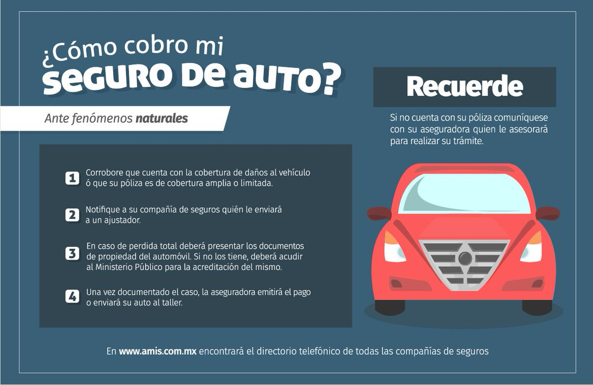Si tu auto sufrió daños ocasionados por un desastre natural, esto es lo que deberás hacer para cobrar tu #Seguro... https://t.co/AAQ7QUq5C7