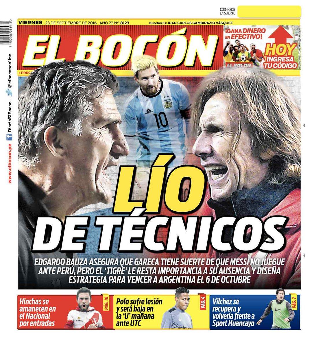 Bauza Y Gareca En La Tapa Del Diario El Bocón De Perú Scoopnest