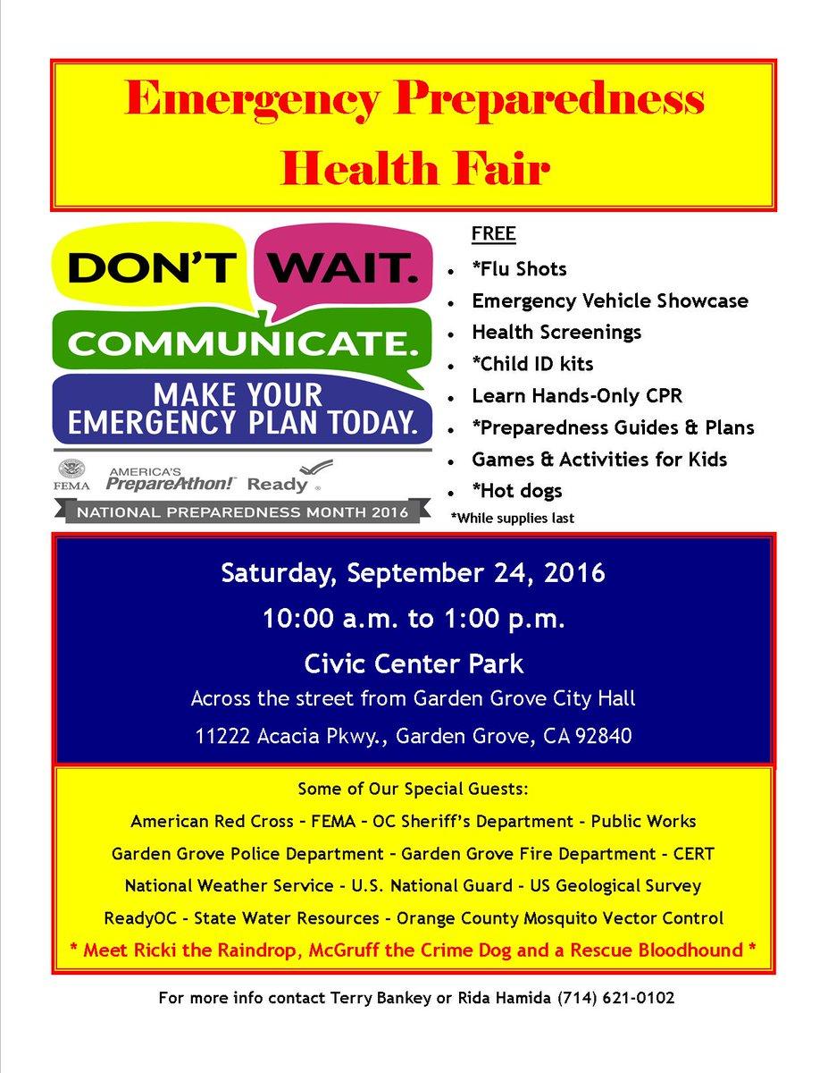 City Of Garden Grove On Twitter Free Emergency Preparedness Health Fair This Sat 9 24 Starting 10am Civic Center Park In Gardengrove