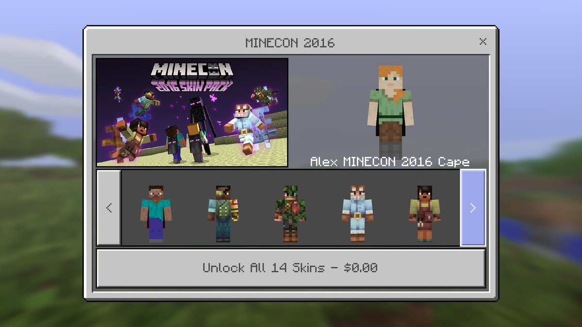 Minecraft News On Twitter MCPE NEWS Download The FREE Minecon - Skins para minecraft pe para download