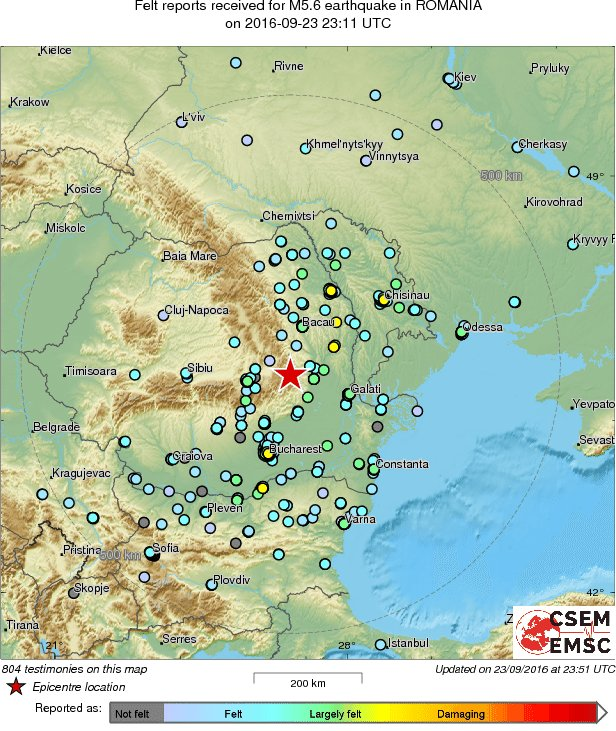 Map of the testimonies received so far following the #earthquake M5.6 in Romania 40 min ago