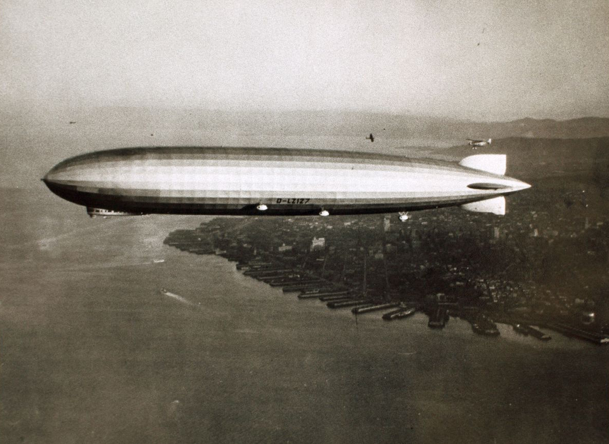 The airship Graf Zeppelin over San Francisco, August 1929, after flying in from Tokyo. Courtesy of @SDASM. #history