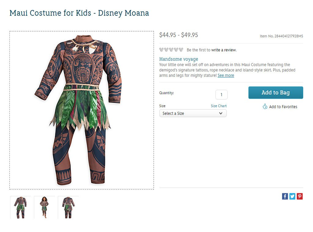 disney is selling moana halloween costumes and lets just say its not going over so