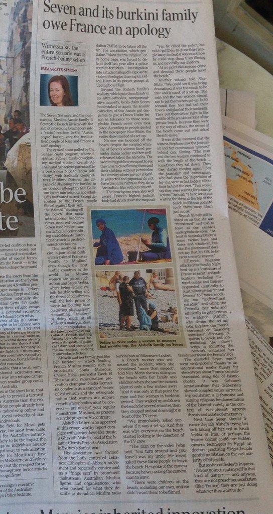 "Brilliant reporting by @eksymons on @sundaynighton7 cynical Aussie burkini stunt in Nice; 'try it in Saudi Arabia.."" https://t.co/Ntk6LFv2Kk"