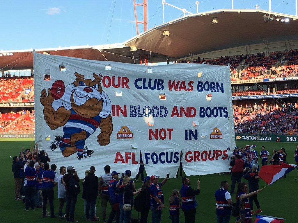The preliminary banner. GO DOGS! #AFLGiantsDogs https://t.co/AdVzVHdo35