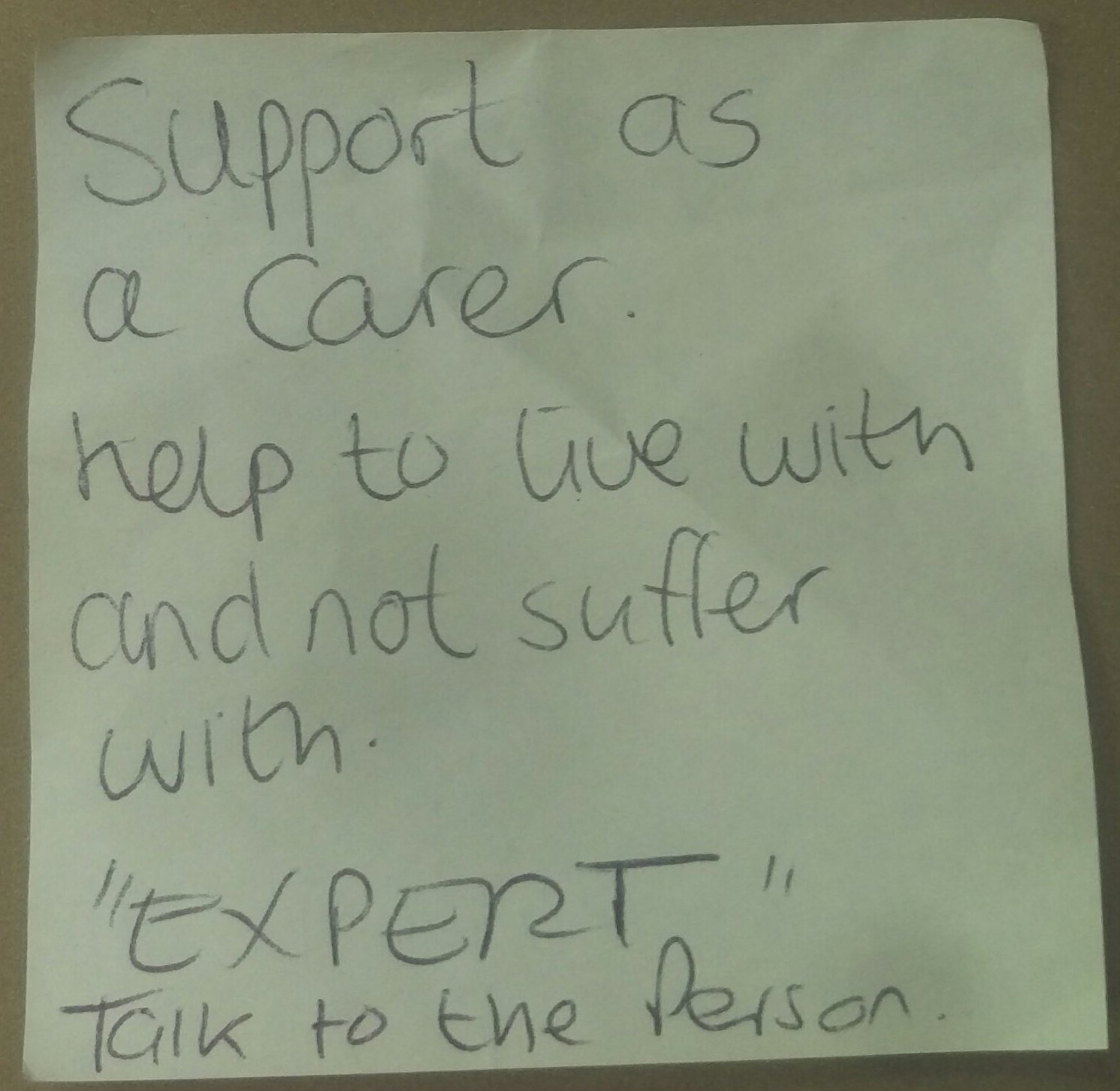 "Today's #dementiado post-it...  Support as a carer  Help to live with, not suffer with  ""Expert"" talk to the person  😊😊😊  #FabChangeDay https://t.co/IsJvL9X66A"
