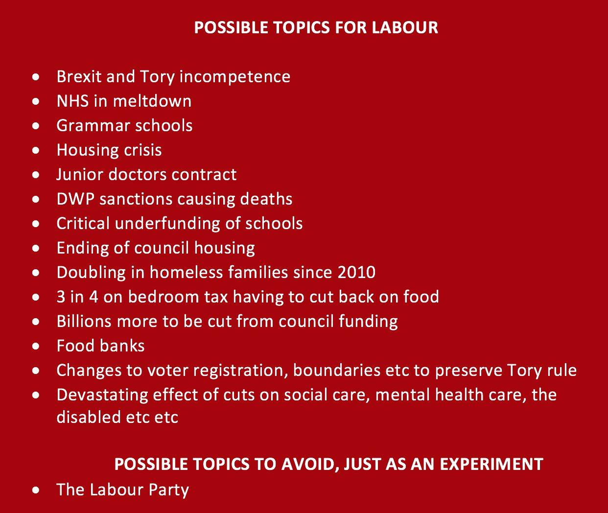 Now the #LabourLeadership election is over, here's a handy guide of possible topics for the Labour Party. #Lab16 https://t.co/8Xtn4IuXHb