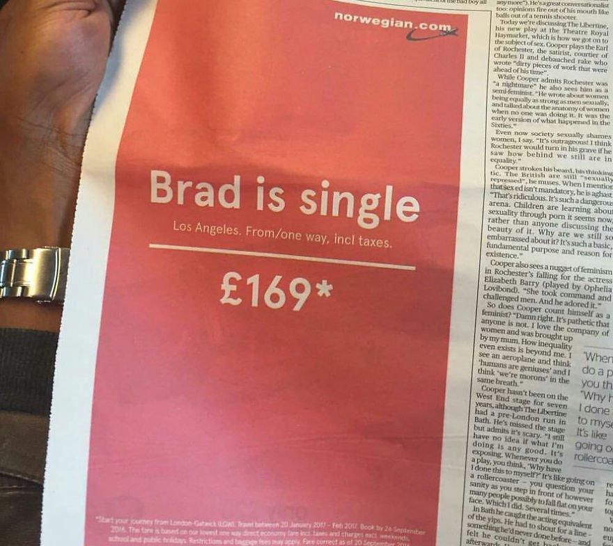 「ブラッド(ピット)が独身になったよ。さあ、いまなら彼が住んでるロスまで片道たった£169!」。ノルウェーエアの新聞広告がタイムリー&天才的!boredpanda.com/brilliant-adve… pic.twitter.com/6D0IChhC83
