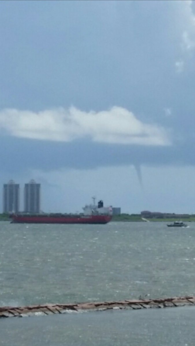 Cool water spout spotted off galveston beach. Crazy weather.