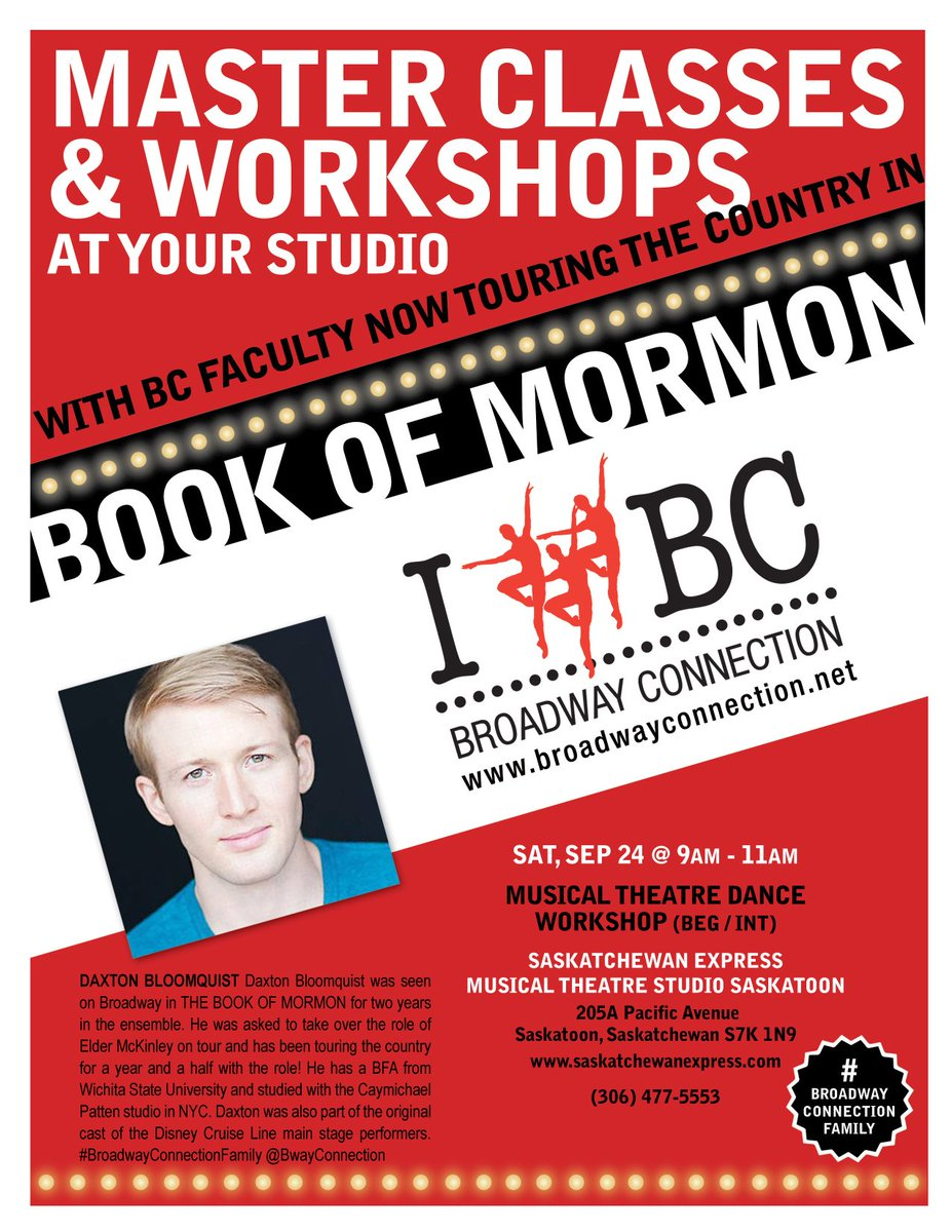 Broadway Connection with cast members from Book of Mormon!  This morning 9 - 11...So exciting!  #broadwayconnection #triplethreat