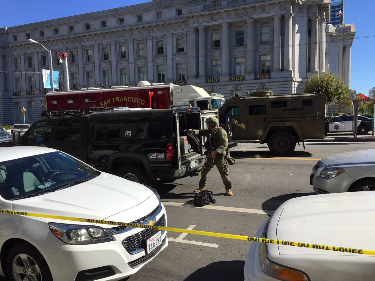 SFPD and FBI both still camped out in Civic Center, with armed and suicidal man in the plaza. It's quiet as we wait