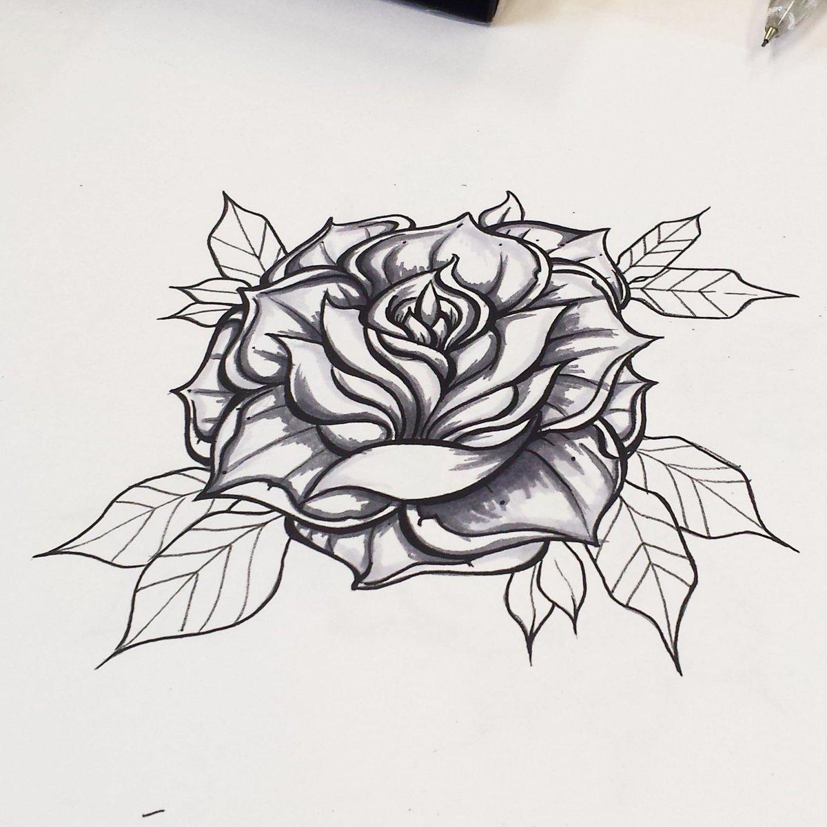 Kay On Twitter Simple Shading On This Rose Tattoo Drawing Ink
