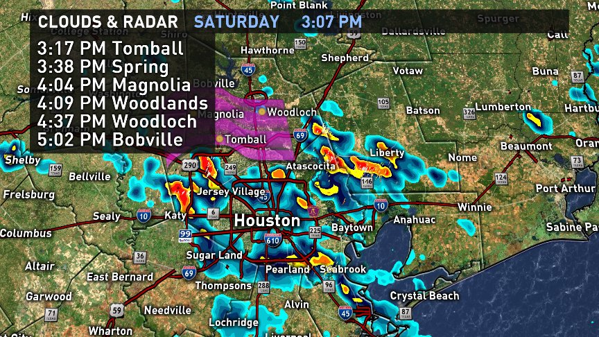 Heavy showers moving up the North Frwy towards Tomball, Spring and The Woodlands. Periods of heavy rain likely.