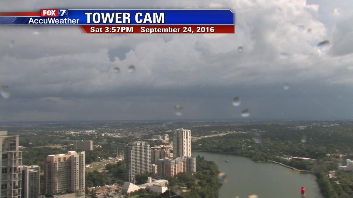 A few sprinkles on the tower cam already. Stronger storm moving into southern Travis Co./eastern Hays Co. now.