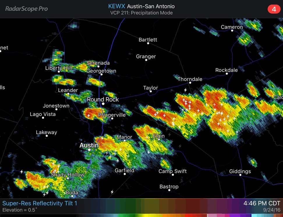 4:46 PM CDT Brief heavy rain, wind gusts to 40 MPH & occasional lightning moving across Williamson county. txwx