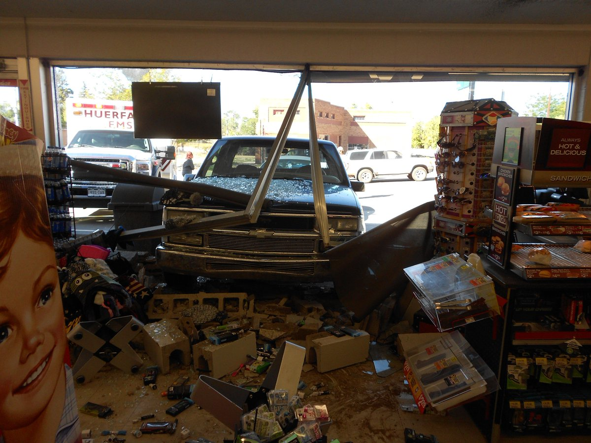 Truck smashes into gas station in southern Colorado