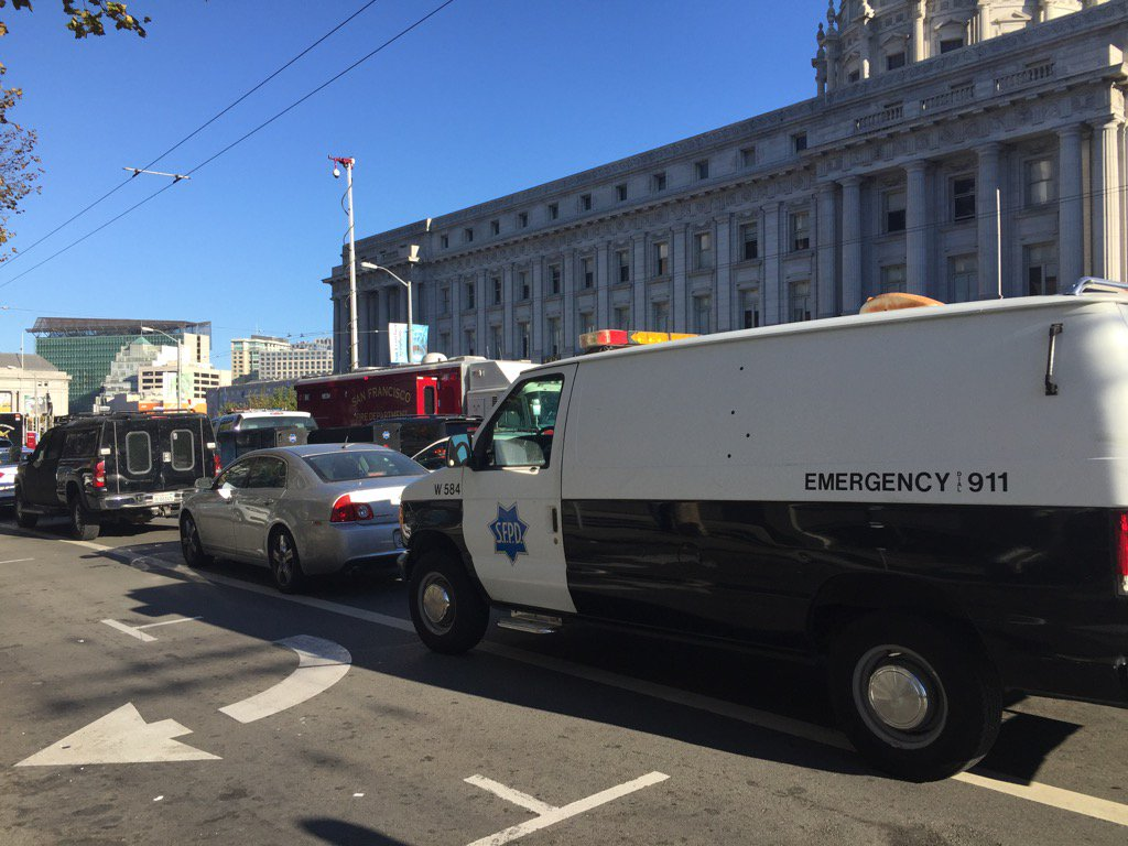 SFPD stand off with armed man near Civic Center continues into 6th hour. Multiple agencies on scene.