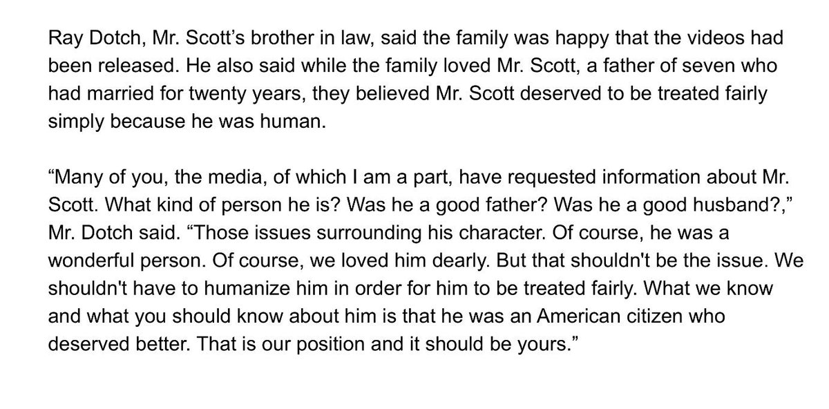 Deep words from #KeithLamontScott's brother in law. 'What you should know about him is that he was an American citi… https://t.co/XSKLQcqvKJ