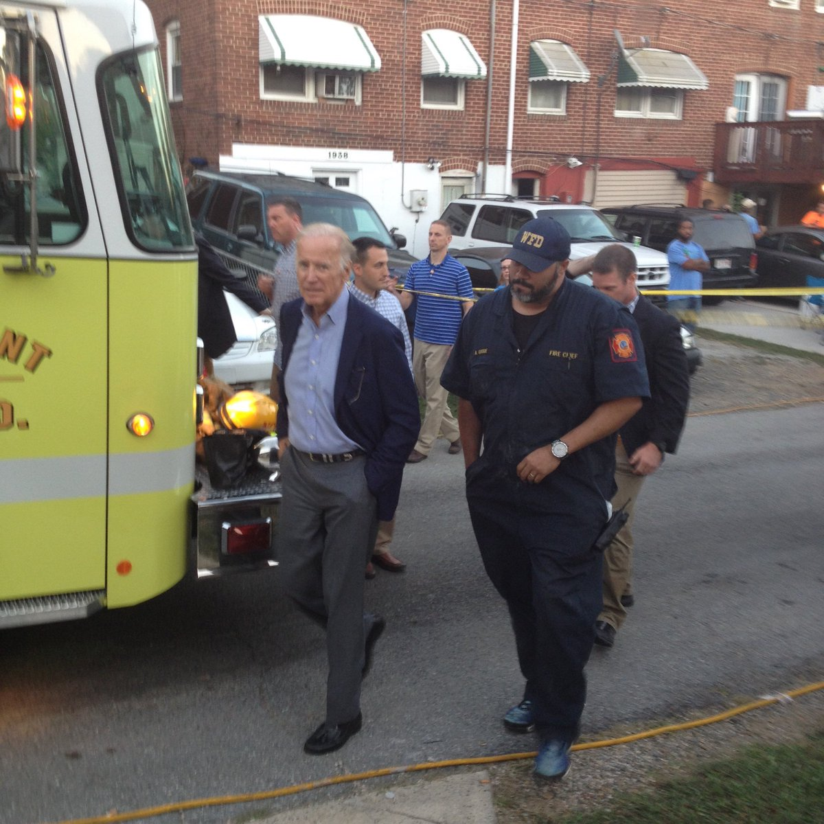 """Each time I've met @VP Biden he says """"please be safe at work"""".  Today, DE lost 2 #firefighters. He went to the scene to offer condolences."""