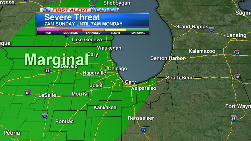 While the vast majority of Sunday will be dry,there could be a strong storm late in the day.Marginal risk of severe