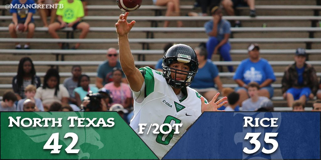 #MeanGreen with the STOP!!!!! Stuffed Dillard and #NorthTexas wins it 42-35 in double OT!!!! #GMG #BeatRice https://t.co/4QqTA2XgKk