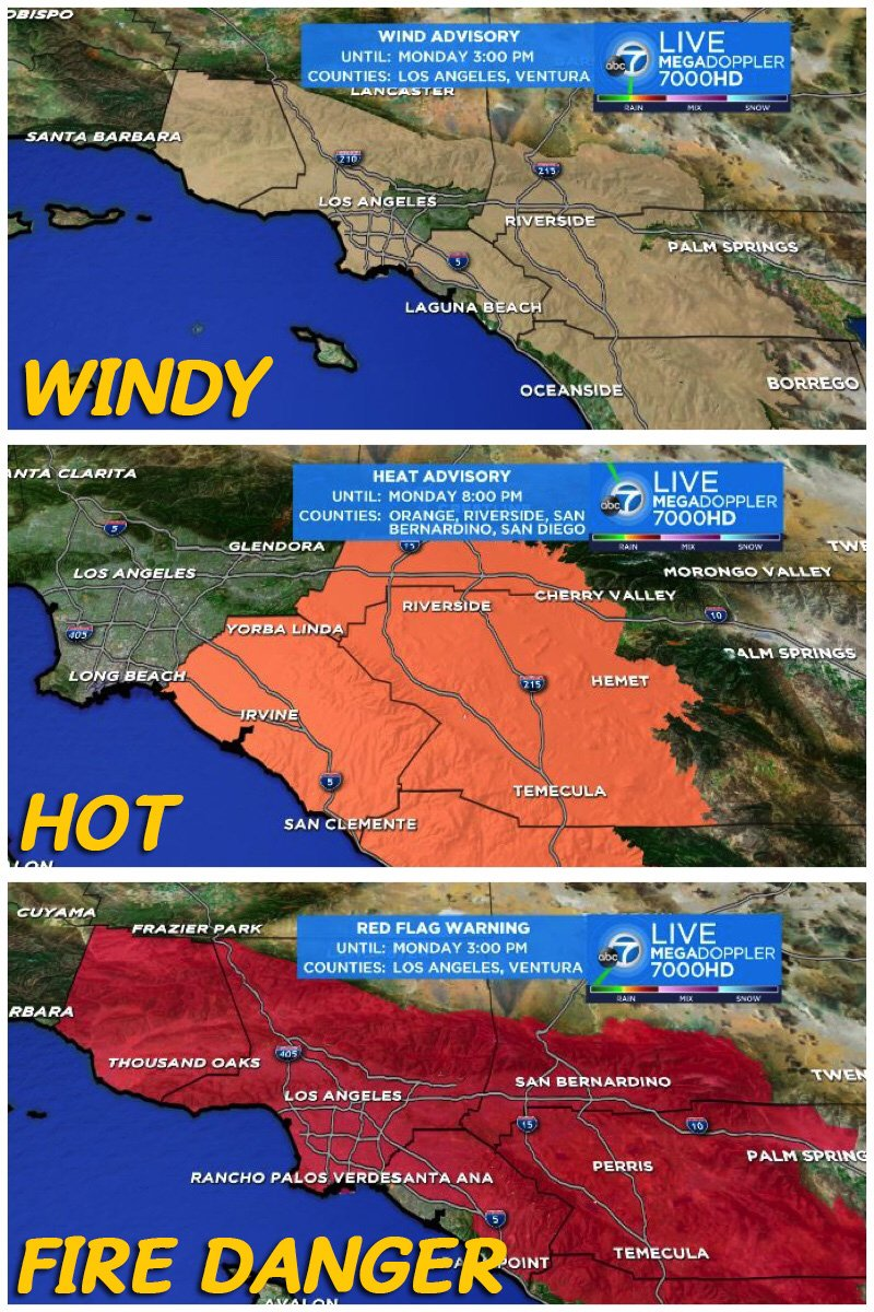 Hot + Dry + Windy = Fire Danger SoCal forecast firefighters