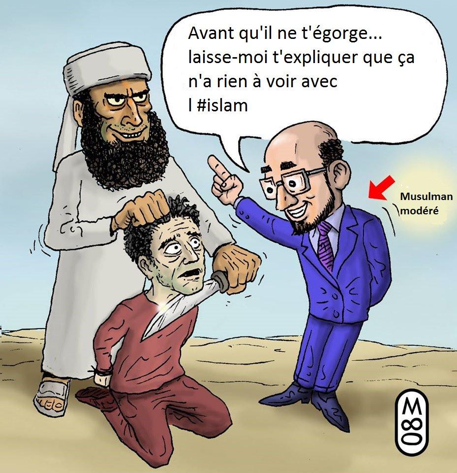 musulman modéré qui dit à un non musulman sur le point de se faire égorger : avant qu'il ne t'égorge, laisse- moi t'expliquer que ça n'a rien à voir avec l'islam