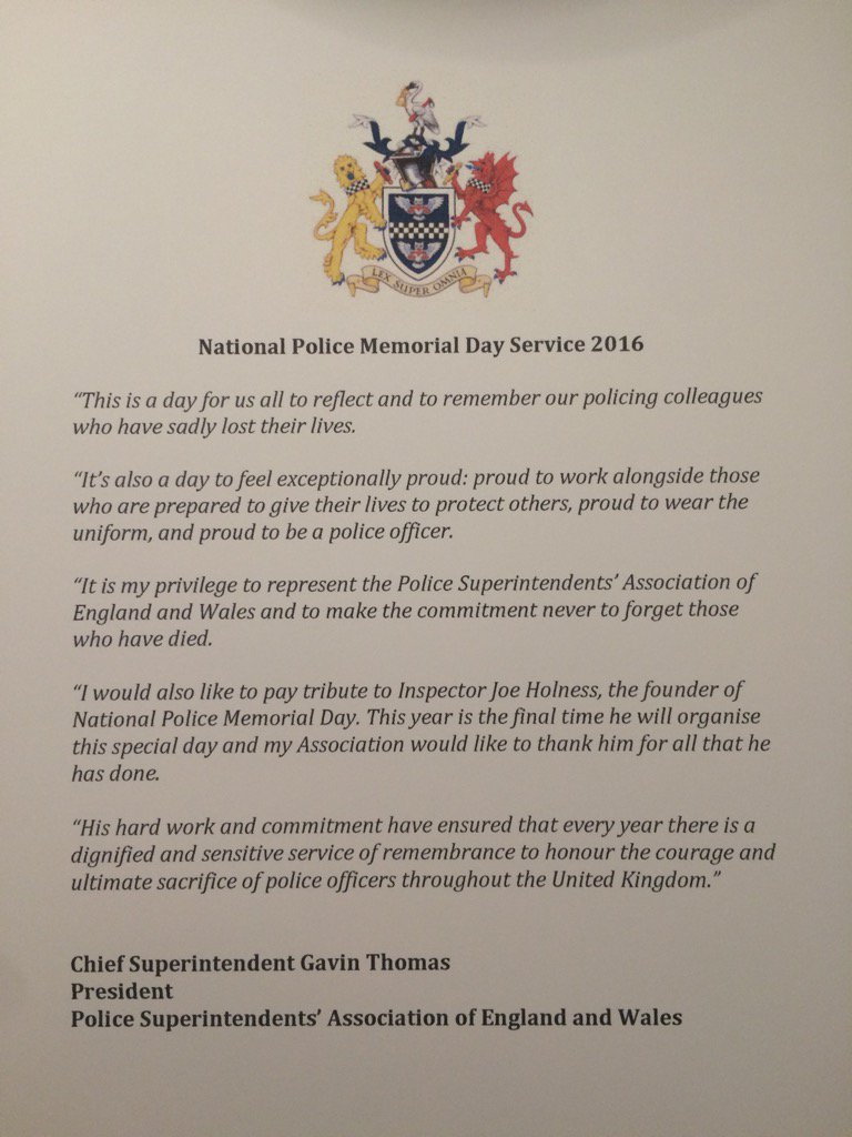 Today we remember colleagues who have died, at a service to mark National Police Memorial Day 2016 https://t.co/AN1WDIUFpp