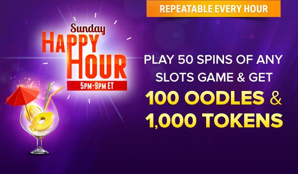 Earn 400 Oodles in Sunday Happy Hour, today from 5pm ET-9pm ET  https://t.co/z8tZiS5LDv https://t.co/5r0x0WWNk5