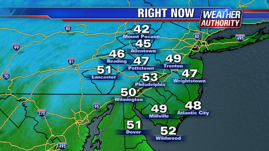 Chilly start on this Sunday AM @fox29philly grab a fall fleece! 7AM temps 40s/50s