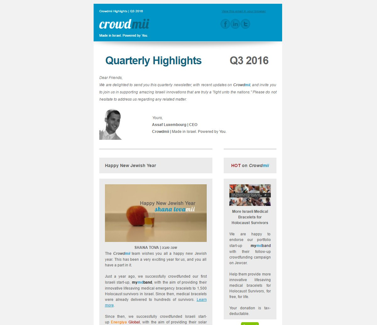 Our Q3 newsletter is out! Check out https://t.co/YwQpQnX5CM | #Israel #innovation #tech #crowdfunding #startup #entrepreneurship #TikkunOlam https://t.co/ZJ0eGpQxMA