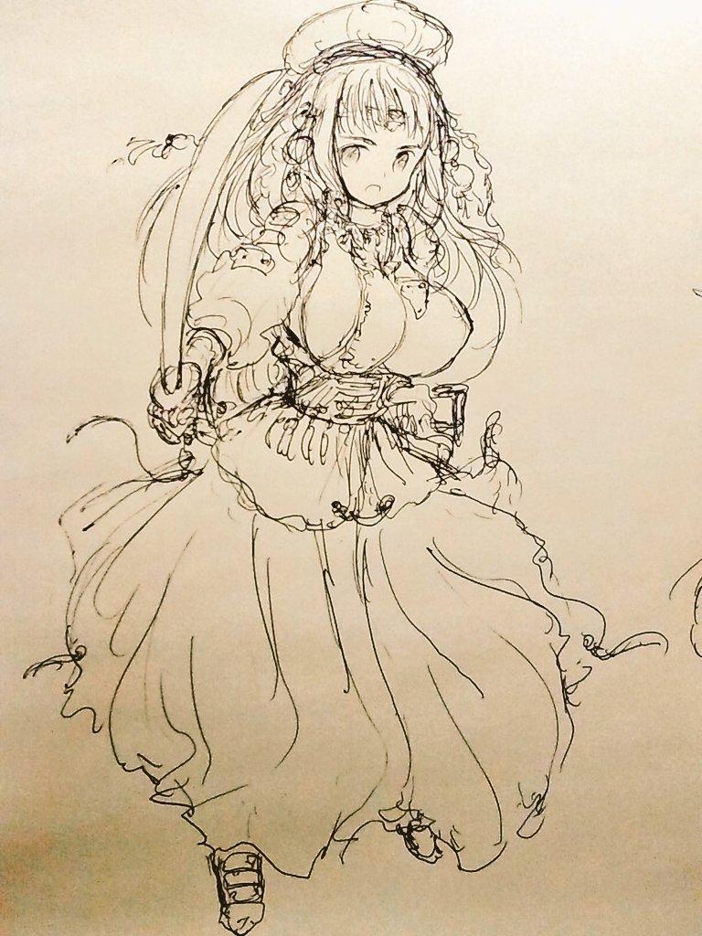 ファンタジーの少女剣士。上着の裾とスカートの裾についている紐は各々スカートを股と足首の所で絞って袴状にするため(都市や村では社会規範が男性の穿物を女性が身に付けるのを許さないので絞らない)。高価な装飾品は剣士の位を示す。
