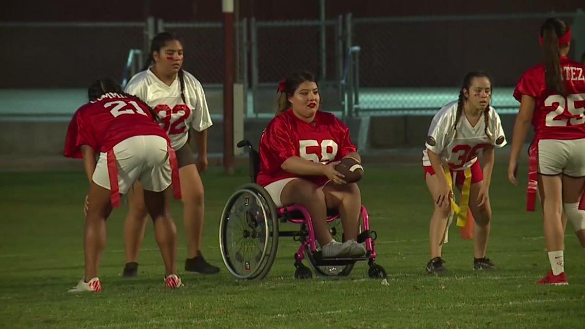 Wheelchair-bound student plays football abc13