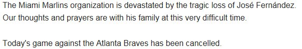 @marlins release statement on death of pitcher Jose Fernandez