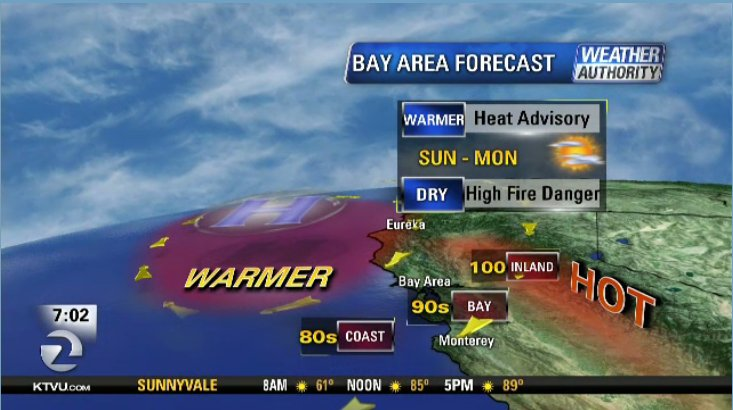 Heat advisory in effect for BayArea today from 11am-8pm