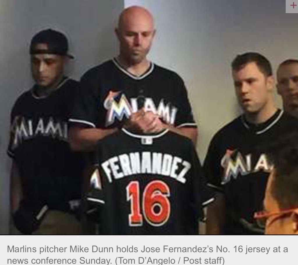 Mike Dunn holds jersey of teammate Jose Fernandez #Marlins https://t.co/gJ8RTtyfPv