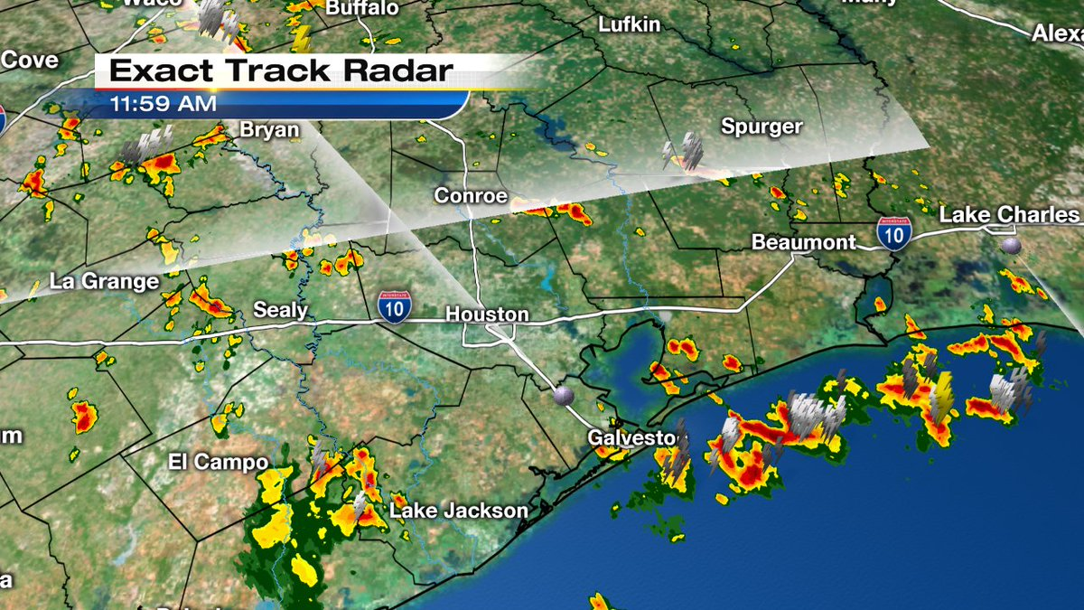 Noon radar look shows storm cells all around Houston. Heavy rain possible with many.