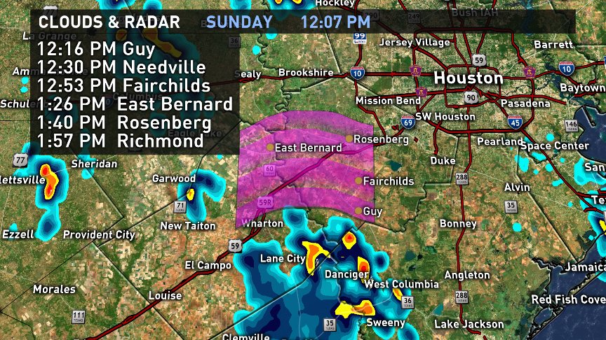 Round of showers heading towards Needville, Rosenberg and Richmond over the next hour or two.