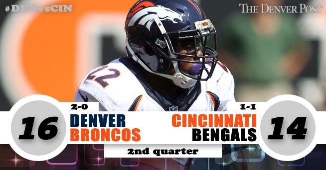 Siemian to Sanders. Again. PAT blocked.Broncos 16, Bengals 14DENvsCIN GameTracker