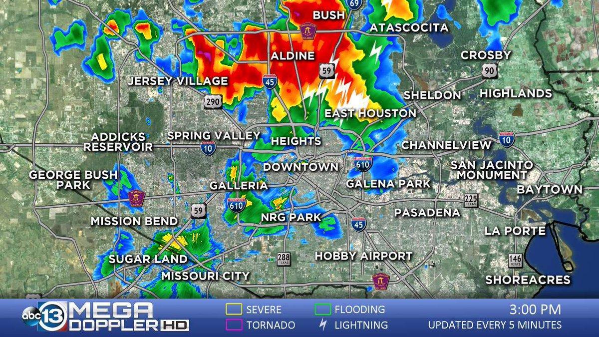 Mega Dopplar 13 shows storms passing over NRG Park during OpenAir festival evacuation.