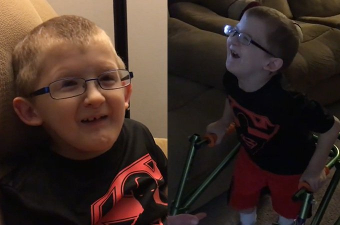 Doctors said this little boy might never walk again – but he proved them wrong.