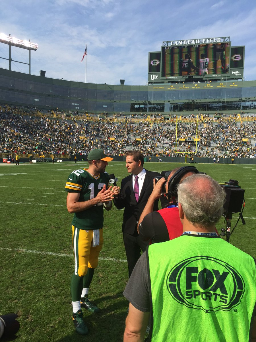 Rodgers talks to Fox Sports on the field after the victory.