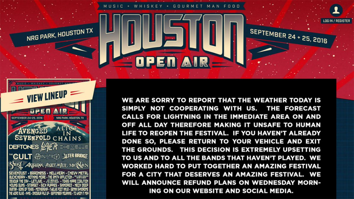 @houopenair canceled because of lightning >